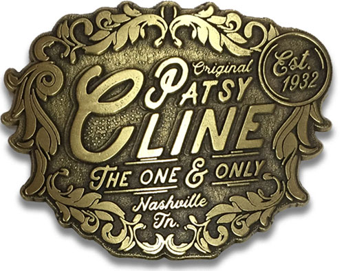 Patsy Cline Est. 1932 Brass Belt Buckle
