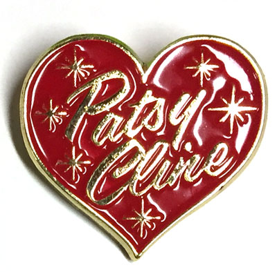 Patsy Cline Gold and Red Heart Enamel Pin